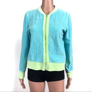 Lilly Pulitzer Blue Yellow Zip-up Velour Jacket 8
